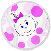 Bouncing Baby Girl Round Beach Towel