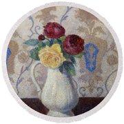 Bouquet De Roses Dans Un Vase 1885 Round Beach Towel