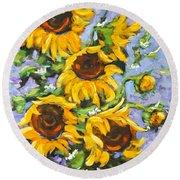 Bouquet Del Sol Sunflowers Round Beach Towel