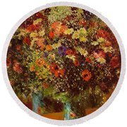 Bouquet In Front Of A Mirror 1877 Round Beach Towel