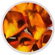 Bouquet Of Calla Lilies Round Beach Towel