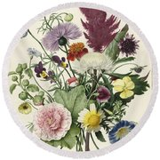 Bouquet Of Flowers, Anonymous, 1680 Round Beach Towel