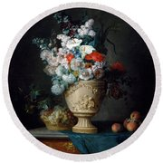 Bouquet Of Flowers In A Terracotta Vase With Peaches And Grapes Round Beach Towel
