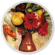 Bouquet Of Flowers In An Earthenware Pitcher Round Beach Towel