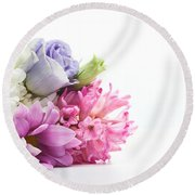 Bouquet Of Fresh Flowers Isolated On White Round Beach Towel