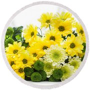 Bouquet Of Fresh Spring Flowers Isolated On White Round Beach Towel