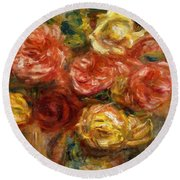 Bouquet Of Roses In A Vase 1900 Round Beach Towel