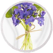 Bouquet Of Violets Round Beach Towel