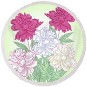 Bouquet With White And Pink Peonies.spring Round Beach Towel