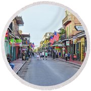 Bourbon Street - New Orleans Louisianna Round Beach Towel