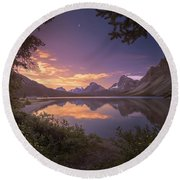 Bow Lake At Dawn Round Beach Towel