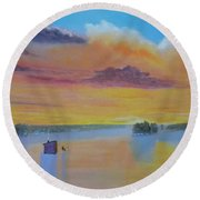 Bow Lake Ice Fishing Round Beach Towel