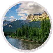Bow River And Three Sisters Canmore Round Beach Towel