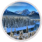 Bow River Valley View Round Beach Towel