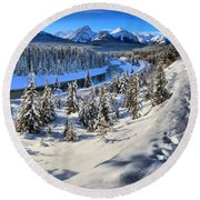 Bow Valley Mountains Round Beach Towel