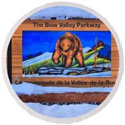 Bow Valley Parkway Snowy Entrance Round Beach Towel