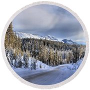 Bow Valley Parkway Winter Scenic Round Beach Towel