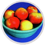 Bowl Of Apples Round Beach Towel