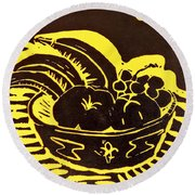 Bowl Of Fruit Black On Yellow Round Beach Towel