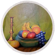 Bowl Of Fruit Round Beach Towel
