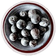 Bowl Of Plums Still Life Round Beach Towel