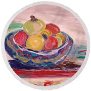 Bowl On A Red Edge Round Beach Towel