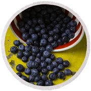 Bowl Pouring Out Blueberries Round Beach Towel