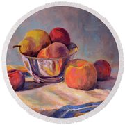 Bowl With Fruit Round Beach Towel