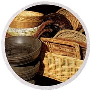 Bowls And Baskets Round Beach Towel