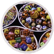 Bowls Full Of Marbles And Dice Round Beach Towel