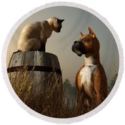 Boxer And Siamese Round Beach Towel by Daniel Eskridge