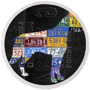 Boxer Dog Pet Owner Love Vintage Recycled License Plate Artwork Round Beach Towel