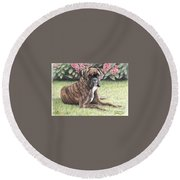 Boxer Girl Round Beach Towel