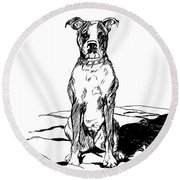 Boxer In The Dirt Round Beach Towel