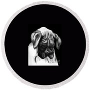 Boxer Puppy Round Beach Towel