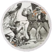 Boxer Rebellion Cartoon Round Beach Towel