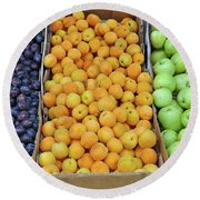 Boxes Of Fruit Round Beach Towel