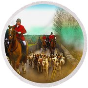 Boxing Day Hunt Round Beach Towel