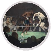 Boxing Match Round Beach Towel by George Luks