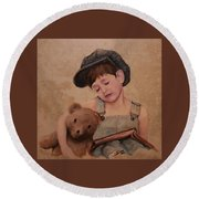 Boy And Bear  Round Beach Towel
