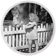 Boy And Girl Talking Over Fence, C.1940s Round Beach Towel