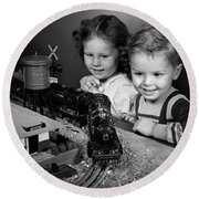 Boy And Girl With Train Set, C.1950s Round Beach Towel