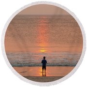 Boy At Sunrise Round Beach Towel