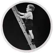 Boy Climbing Tall Ladder, C.1930s Round Beach Towel