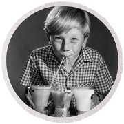 Boy Drinking Three Shakes At Once Round Beach Towel