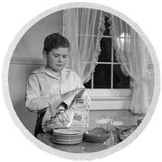 Boy Drying Dishes, C.1950s Round Beach Towel