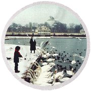 Boy Feeding Swans- Germany Round Beach Towel