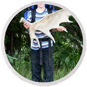 Boy Holding A Moose Antler Round Beach Towel