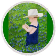 Boy In The Bluebonnets Round Beach Towel