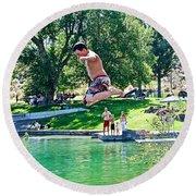 Boy Jumping Off The Board Into Dierkes Lake In Snake River Near Twin Falls-idaho   Round Beach Towel